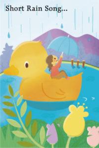 雨降り アヒルと女の子のイラスト